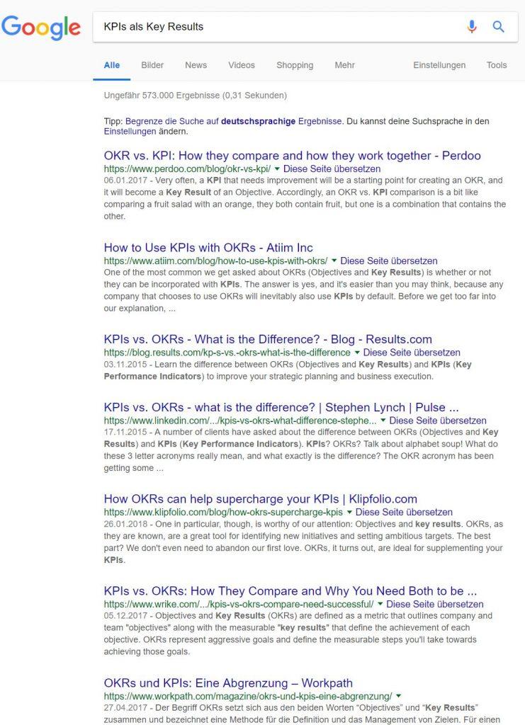 Google Suchergebnisse KPIs als Key Results - mehr Ergebnisse, als wünschenswert